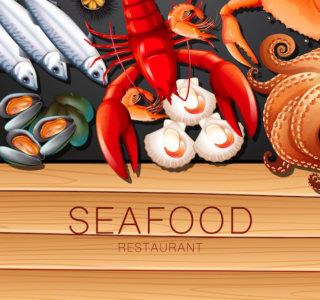 Conjunto de frutos do mar frescos