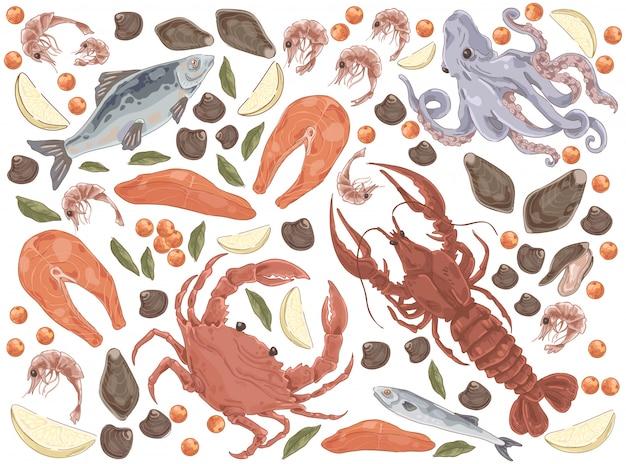 Conjunto de frutos do mar peixe cru Vetor Premium