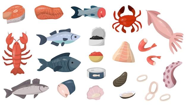 Conjunto de frutos do mar. salmão, atum, caranguejo, lula, polvo, camarão, marisco