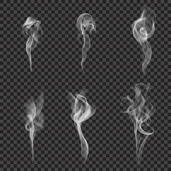 Conjunto de fumaça realista monocromático
