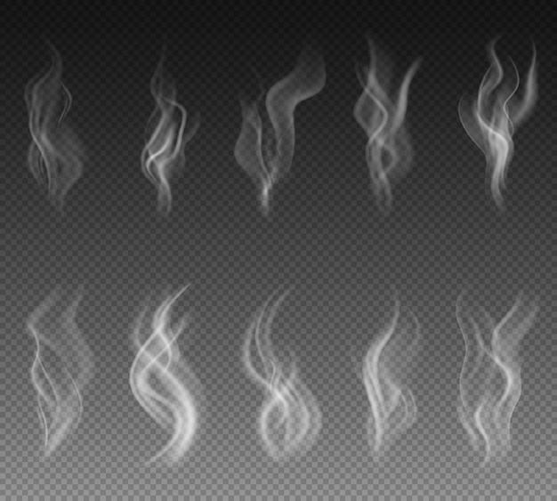 Conjunto de fumaça transparente