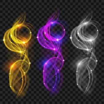 Conjunto de fumaças coloridas translúcidas com brilhos. transparência apenas em arquivo vetorial