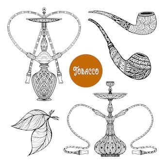 Conjunto de fumo de doodle