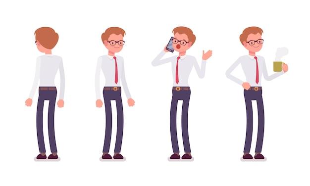 Conjunto de funcionário masculino em poses de pé, traseira, vista frontal