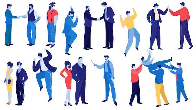 Conjunto de funcionários corporativos e gerentes alegres
