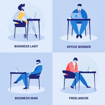 Conjunto de funcionários corporativos, trabalho de pessoas de negócios