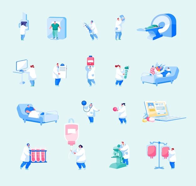 Conjunto de funcionários de saúde do hospital