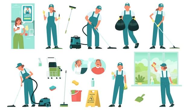 Conjunto de funcionários de serviços de limpeza e equipamentos e ferramentas para limpeza de instalações