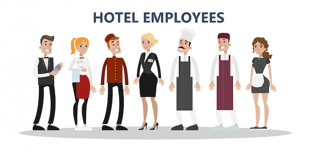 Conjunto de funcionários do hotel. empregadas domésticas e serviço de limpeza, chef e recepcionista.