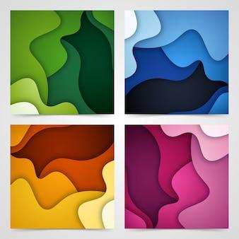 Conjunto de fundo abstrato 3d e formas de corte de papel,