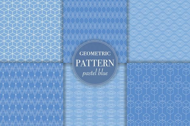 Conjunto de fundo abstrato azul e geométrico pastel.