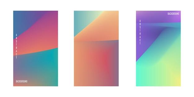 Conjunto de fundo abstrato com bela gradação de cor de fundo colorido para cartaz flyer bann