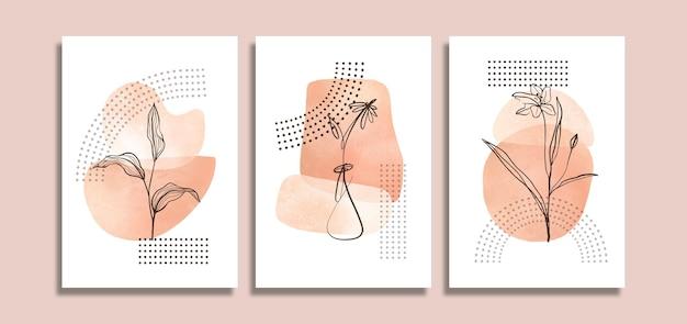 Conjunto de fundo abstrato com flor desenhada à mão
