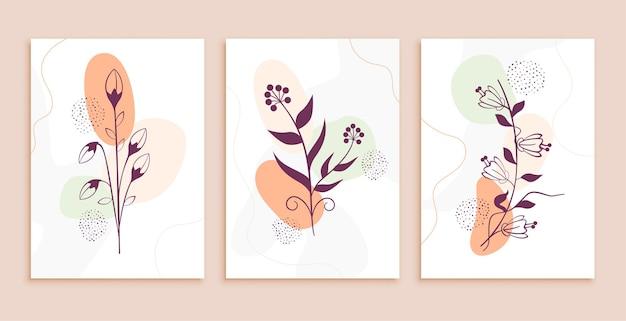 Conjunto de fundo abstrato de flores e folhas de arte em linha