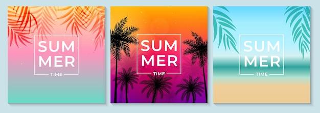 Conjunto de fundo abstrato de verão com folhas de palmeira, praia e beira-mar.