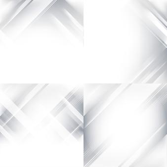 Conjunto de fundo abstrato gradiente cinza e branco