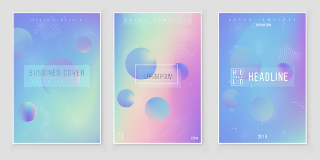 Conjunto de fundo abstrato iridescente holográfico tendências de estilo moderno 80s 90s. vetor de folha holográfica