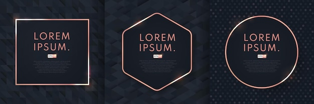 Conjunto de fundo abstrato luxo padrão preto com moldura geométrica de ouro rosa.