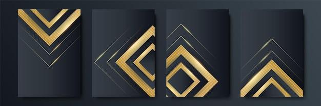 Conjunto de fundo abstrato preto e dourado de quatro. modelos de capa de luxo. design de capa vetorial para cartazes, banners, folhetos, apresentações e cartões