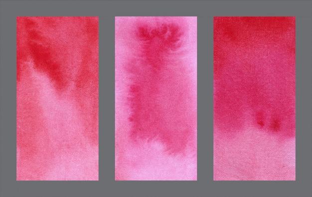 Conjunto de fundo aquarela abstrata web vermelho banner
