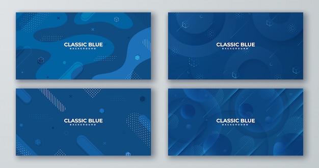 Conjunto de fundo azul clássico com formas abstratas