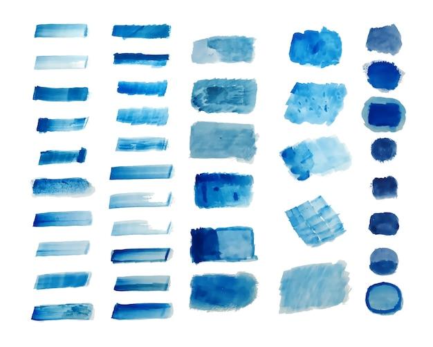 Conjunto de fundo azul com texturas em aquarela pintadas à mão