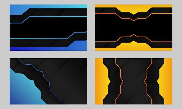 Conjunto de fundo azul e amarelo escuro