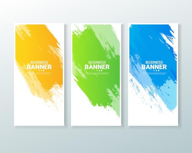 Conjunto de fundo banner vertical de negócios com respingo de aquarelas.
