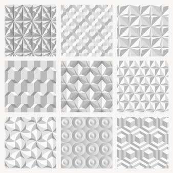 Conjunto de fundo cinza de vetor de padrão geométrico 3d simples