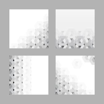 Conjunto de fundo cinza padrão 3d hexagonal