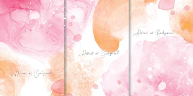 Conjunto de fundo colorido em aquarela com design de pintura de arte fluida abstrata