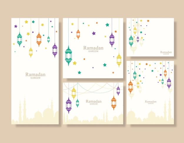 Conjunto de fundo colorido lanterna do ramadã
