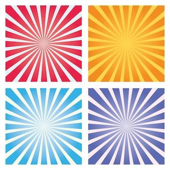 Conjunto de fundo colorido sunburst