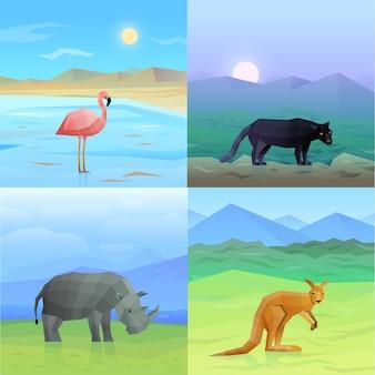 Conjunto de fundo de animais
