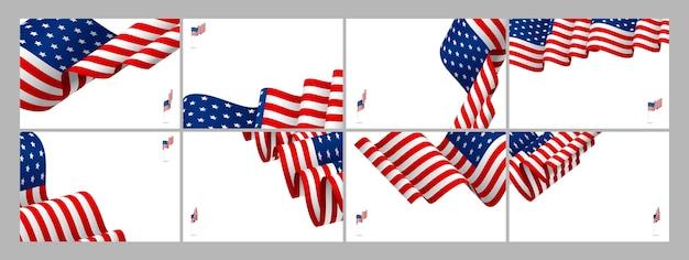 Conjunto de fundo de bandeira eua da onda de bandeira americana com espaço de cópia