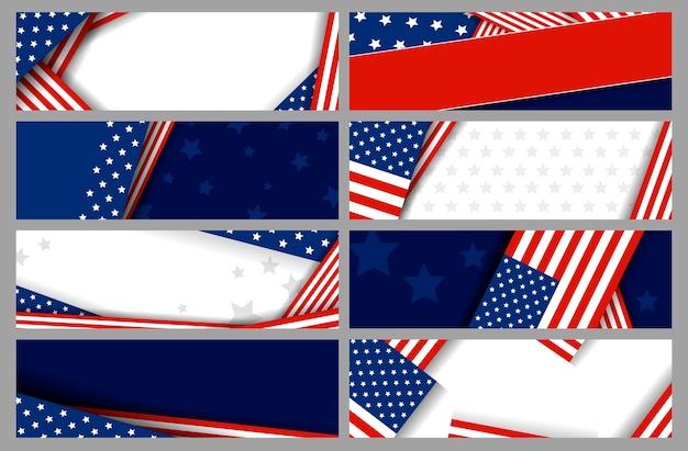 Conjunto de fundo de banner eua ou américa com espaço de cópia