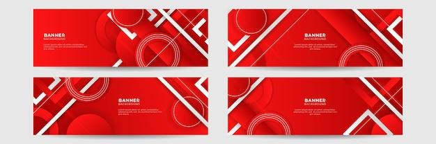 Conjunto de fundo de banner vermelho abstrato com camada de sobreposição 3d e formas de onda. fundo abstrato geométrico, poligonal, textura, layout de anúncio. página da web. cabeçalho para o site.