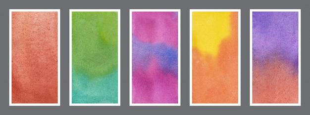 Conjunto de fundo de banner web de textura aquarela abstrata