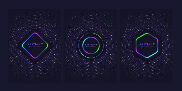 Conjunto de fundo de capa com círculos brilhantes