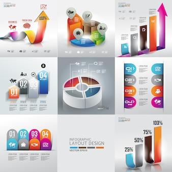 Conjunto de fundo de design gráfico de informação