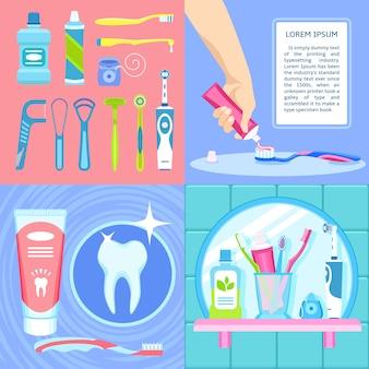 Conjunto de fundo de escova de dentes.