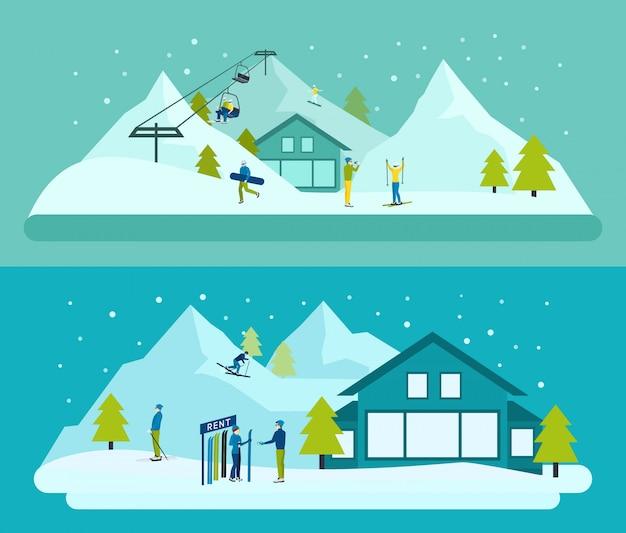 Conjunto de fundo de estância de esqui