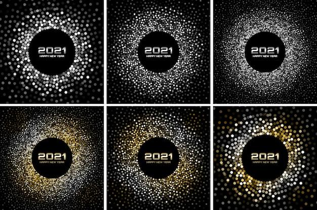 Conjunto de fundo de festa discoteca de ano novo 2021 à noite. confetes de papel glitter dourados. luzes festivas de prata cintilantes. quadro de círculo brilhante.