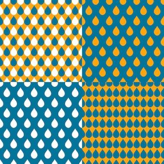 Conjunto de fundo de gotas de água azul laranja