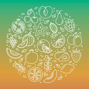 Conjunto de fundo de ilustração de ícones de legumes e frutas em uma forma circular