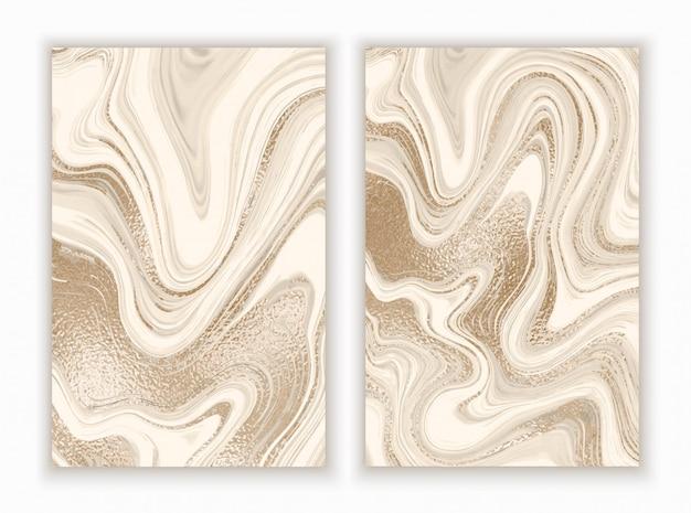 Conjunto de fundo de mármore dourado em estilo minimalista moderno
