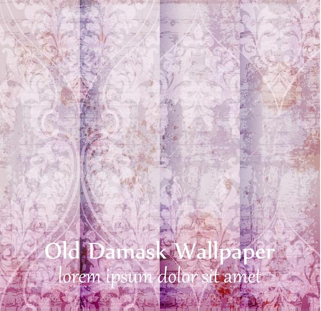 Conjunto de fundo de ornamento de damasco antigo