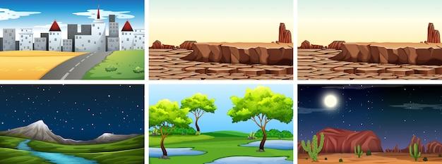 Conjunto de fundo de paisagem de natureza