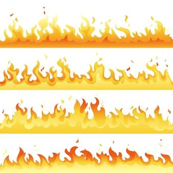 Conjunto de fundo de pano de fundo de chama de fogo. modelo de fogueira horizontal