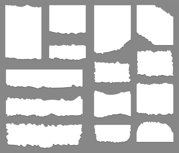 Conjunto de fundo de papel rasgado e rasgado